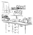 kitchen cupboard kitchen shelves hand drawn vector image vector image