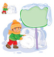 little boy rolling a snowball and building vector image vector image
