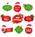 merry christmas labels set isolated white vector image vector image