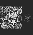 oysters design template hand drawn on chalk board vector image