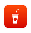 paper cup with straw icon digital red vector image vector image