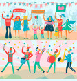 parade people flat banner set vector image vector image