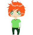 Red Headed Guy In Green Clothes vector image vector image