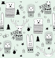 seamlee christmas pattern with doodle animals vector image