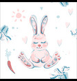 seamless pattern with cute bunny carrots vector image vector image