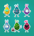 set decorated eggs with rabbit ears in medical vector image vector image