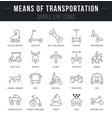 set line icons means transportation vector image