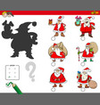 shadows game with cartoon santa claus vector image vector image