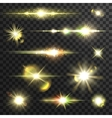 Shining star light rays set with lens fare vector image