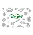 Sketch Tea Icons Set vector image