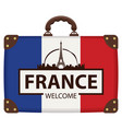 travel bag with french flag and eiffel tower vector image