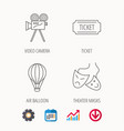 video camera ticket and theatre masks icons vector image vector image