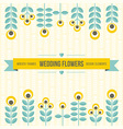 wedding design elements - flowers and ribbon vector image