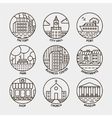 set of line city circle icons vector image