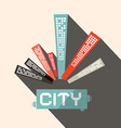 Long Shadow Flat Design City vector image