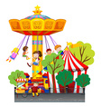 Swing ride at the theme park vector image