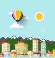 town with mountains on background flat design vector image