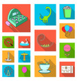 amusement park flat icons in set collection for vector image vector image