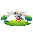 An elephant with balloons at the hilltop vector image vector image