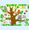 animals and birds living on the tree coloring for vector image vector image
