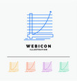 arrow chart curve experience goal 5 color line vector image vector image