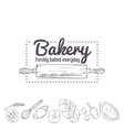 Bakery logo template Hand drawn rolling pin and vector image vector image