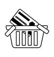 basket buy online bank credit card digital outline vector image