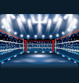boxing ring with spotlights vector image vector image