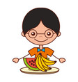 boy with watermelon and banana vector image
