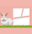 bunny on note template vector image vector image