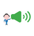 businessman character holding sound on symbol vector image