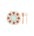 ceramic plate and wooden spoon and fork flat vector image