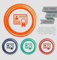 certificate icon on the red blue green orange vector image vector image