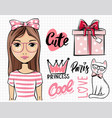 cute girl painted with female emblems vector image vector image