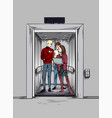elevator pitch two young men and woman vector image vector image