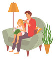 father combing hair daughter parenthood vector image vector image