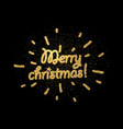 golden merry christmas card on black vector image