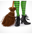 halloween closeup witch legs in boots vector image vector image