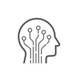 head human smart technology logo brain vector image