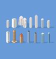 isometric buildings set skyscraper vector image