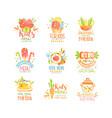 kids menu logo design set healthy organic food vector image vector image