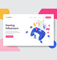 landing page template gaming influencers vector image vector image