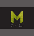 m letter logo with palm tree leaf pattern design