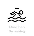 marathon swimming sport icons vector image