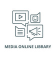 media online library line icon linear vector image vector image