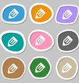 pencil icon symbols Multicolored paper stickers vector image vector image