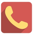 Phone Receiver Flat Rounded Square Icon with Long vector image vector image