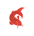 Red Koi Nishikigoi Carp Fish Drawing vector image vector image