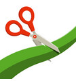 red scissors with green ribbon isolated on white vector image vector image