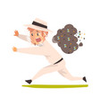 scared beekeeper running away from swarm bees vector image vector image